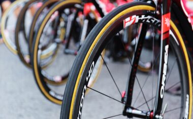 Bicycle tires lined up
