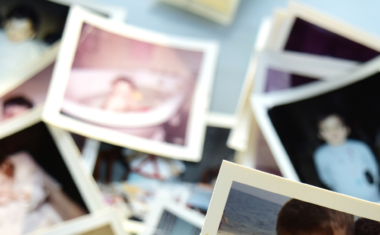 image of photos scattered on a table