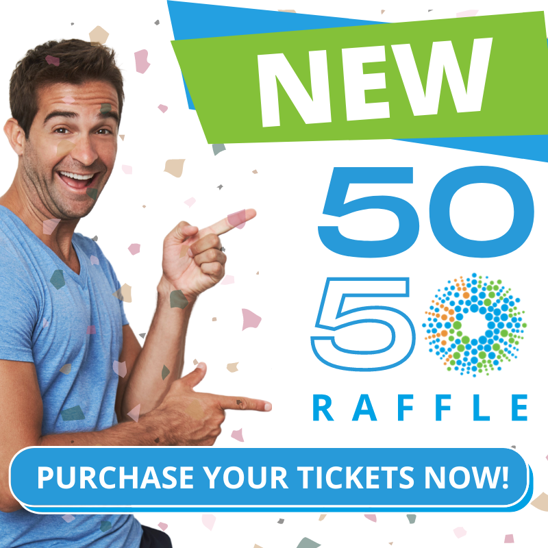 excited man pointing to 5050 Raffle. TEXT: Purchase your tickets now.